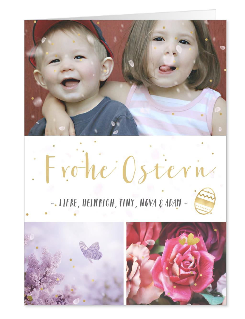 Christliche Ostern Karte mit Familienfoto